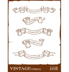 vintage ribbons set vector image vector image