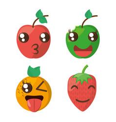 kawaii fruits cheerful collection vector image vector image
