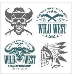 Set of vintage cowboy emblems labels badges vector image