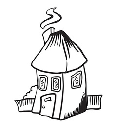 simple black and white little house isolated vector image vector image