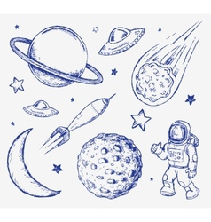 Space doodle set elements vector image vector image
