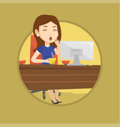 tired employee working in office vector image
