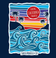 vintage summer california surfing t shirt print vector image