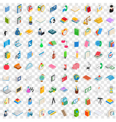 100 stationery icons set isometric 3d style vector image