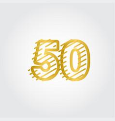 50 years anniversary gold line design logo vector