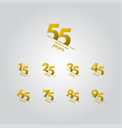 55 years anniversary celebration gold line vector