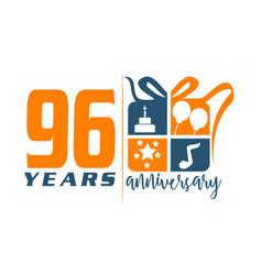 96 years gift box ribbon annivers vector
