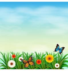 A flower garden with butterflies vector