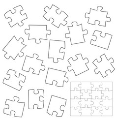 a lot piece puzzle elements template in flat vector image