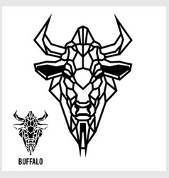 abstract linear polygonal head a buffalo vector image