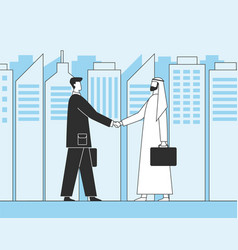 arab businessmen business handshake muslim vector image
