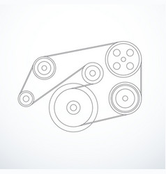 auxiliary belt and pulleys vector image