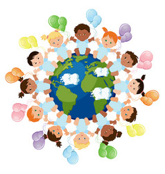 Babies around earth vector