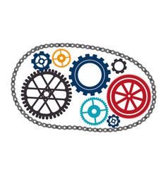 Bicycle gears emblem icon vector