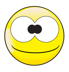 Big eyes stupid and silly smile face button vector