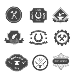 Blacksmith labels collection icons set vector