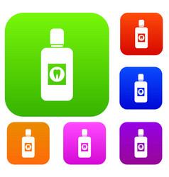 Bottle of mouthwash set collection vector