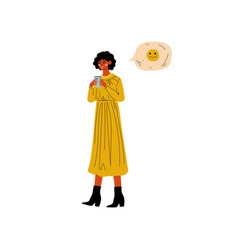 brunette girl chatting online using smartphone vector image