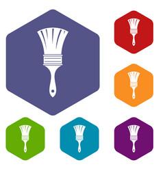 Brush icons set hexagon vector