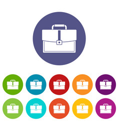 Business briefcase icons set flat vector