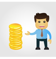 Business man cartoon with stack of gold vector image