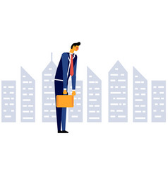 Businessman sad tired disappointed office worker vector