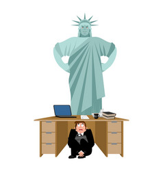 businessman scared under table of statue of vector image