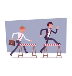Businessmen running over obstacles vector