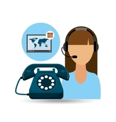 Call centre woman working delivery world vector