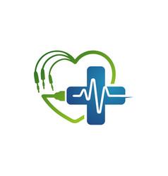 cardiogram beats heart monitor logo design vector image
