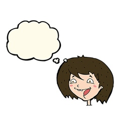 cartoon happy girl with thought bubble vector image