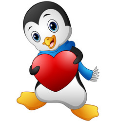 cartoon penguin holding a heart vector image