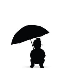 child seizes and holds the umbrella silhouette vector image
