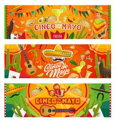Cinco de mayo mexican sombrero guitar cactus vector