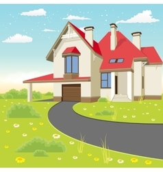 classic cottage in the summer landscape vector image
