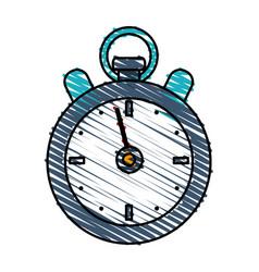 Color crayon stripe cartoon stopwatch icon vector