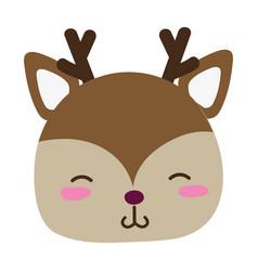 Colorful shy deer head wild animal vector