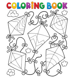Coloring book flying kites vector