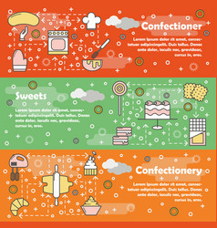 confectionery flat line art banner set vector image