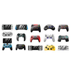 console gamepad playing joystick pc games vector image