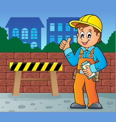 construction worker theme image 4 vector image
