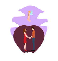 couple in love holding hands vector image