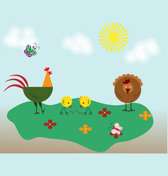 cute beige and red cock and chicken farm animal vector image