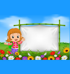 cute girl beside a frame made of bamboo in garden vector image