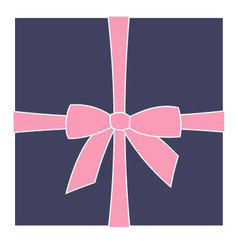 Dark blue box and pink bow vector image