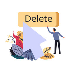 Delete process of replacing man web developer vector
