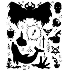 design set with evil silhouettes vector image