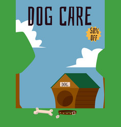 dog care header and doghouse on landscape vector image
