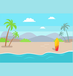 Empty beach near sea with tall palms and surfboard vector