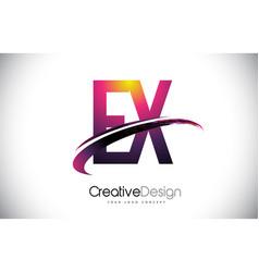 Ex e x purple letter logo with swoosh design vector